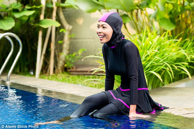 لباس شنای اسلامی مایو پوشیده بورکینی دخترانه زنانه 2016