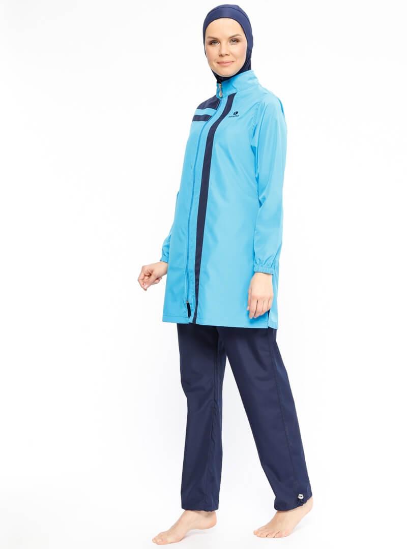 مایو اسلامی زنانه پوشیده آبی ranuna بورکینی زنانه پوشیده