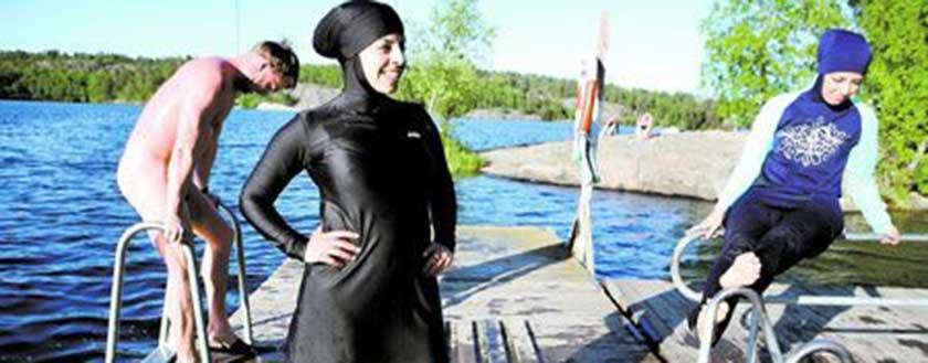 مایو پوشیده زنانه و دخترانه 2016 مایو اسلامی بورکینی مایو نیمه پوشیده لباس شنای پوشیده