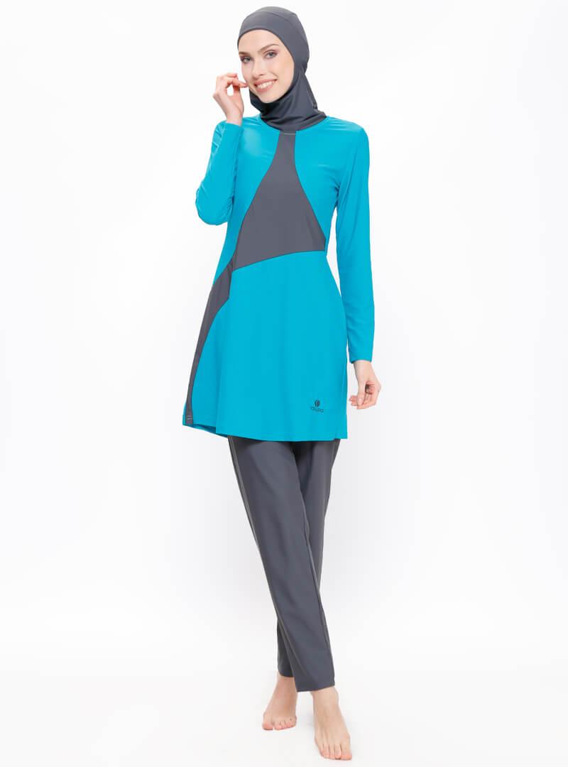 مایو اسلامی زنانه پوشیده آبی خاکستری ruana مایو بورکینی زنانه