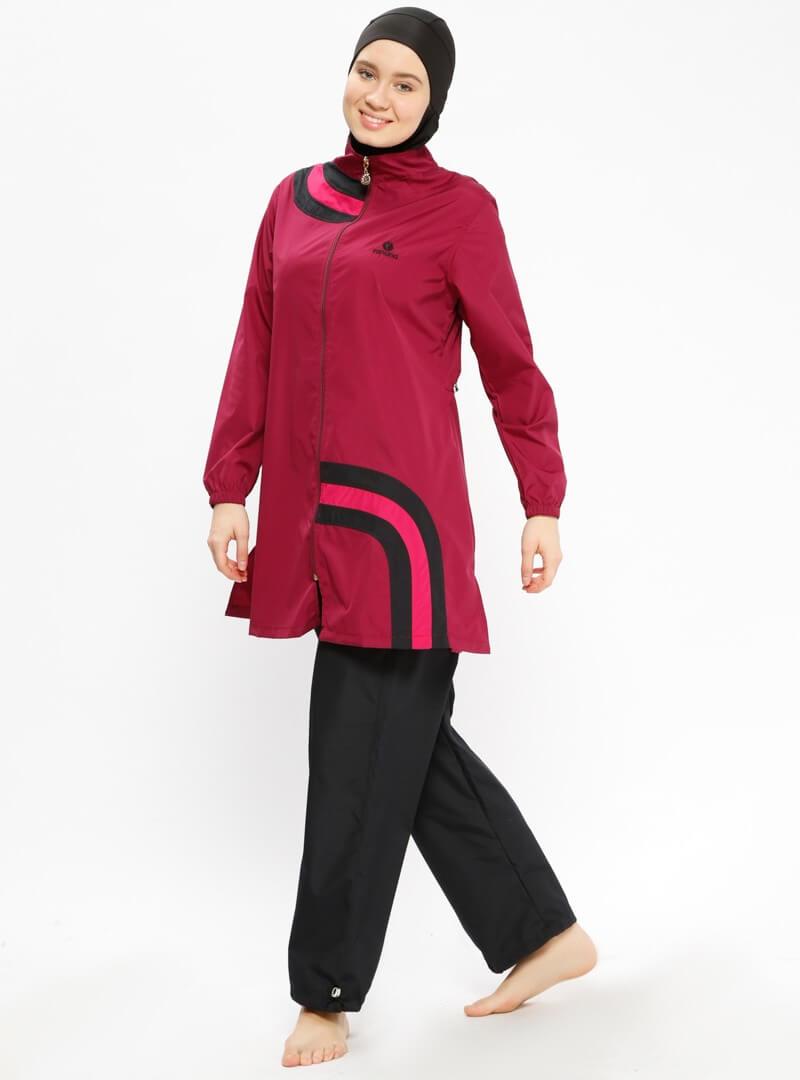 مایو اسلامی زنانه پوشیده زرشکی ranuna بورکینی زنانه زرشکی پوشیده