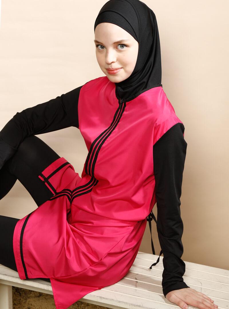 مایو اسلامی زنانه پوشیده گل اناری ranuna بورکینی پوشیده زنانه قرمز