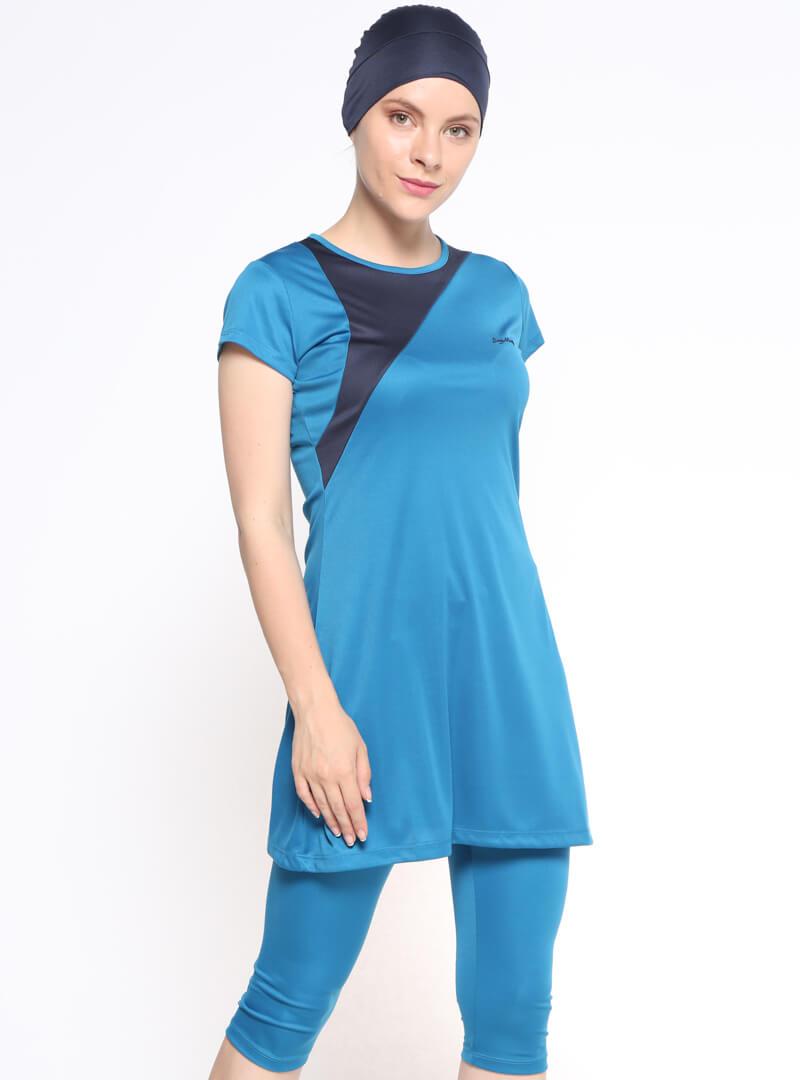 مایو اسلامی نیمه پوشیده زنانه آبی  seamay بورکینی زنانه آبی