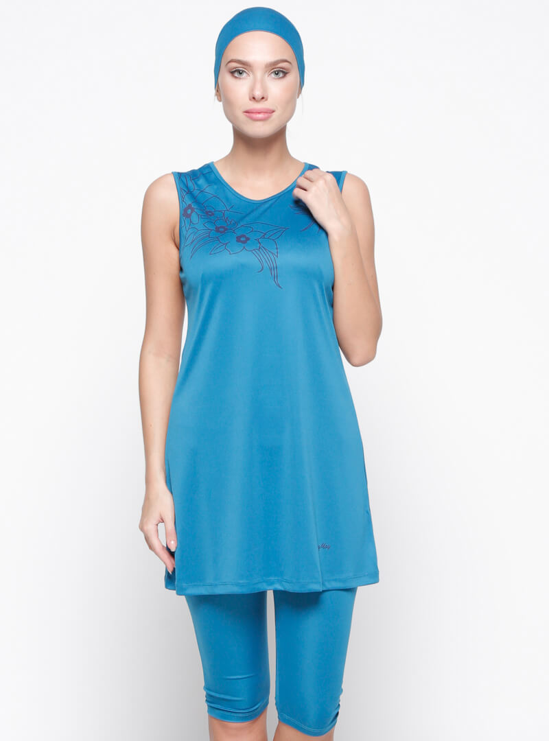مایو اسلامی نیمه پوشیده زنانه آبی seamay بورکینی نیمه پوشیده زنانه