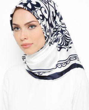 ابریشم رویال روسری شیری سورمه ای ابریشم - رویال - روسری - شیری - سورمه ای  Misirli