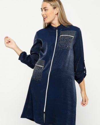 چاپ قطره ای  زیپدار تونیک سورمه ای چاپ قطره ای  - زیپدار - تونیک - سورمه ای  Nihan