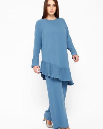 دوتایی ست تونیک شلوار دوتایی لباس شب ست آبی تونیک - شلوار - دوتایی - لباس شب - ست - آبی  Sevdem Abiye