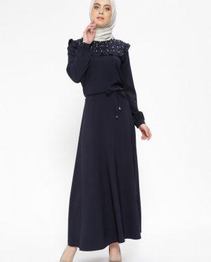 مروارید دوزی شده پیراهن سورمه ای مروارید دوزی شده - پیراهن - سورمه ای  Cml Collection