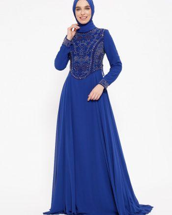 نگین دار لباس شب  آبی نگین دار - لباس شب  - آبی  Puane