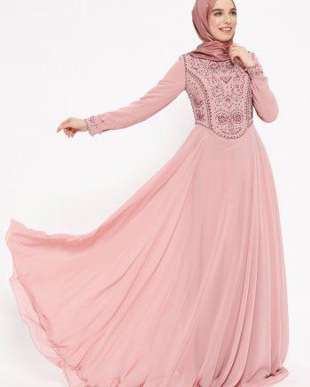 نگین دار لباس شب  رنگ گل رز نگین دار - لباس شب  - رنگ گل رز  Puane