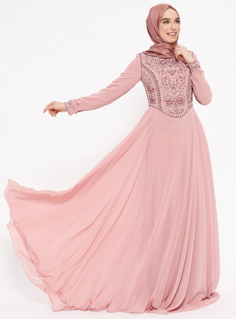 نگین دار لباس شب  رنگ گل رز نگین دار – لباس شب  – رنگ گل رز  Puane