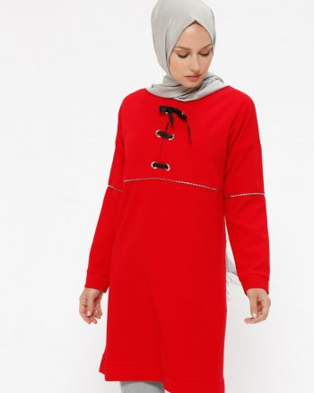 طرح دار تونیک قرمز طرح دار - تونیک - قرمز  Puane