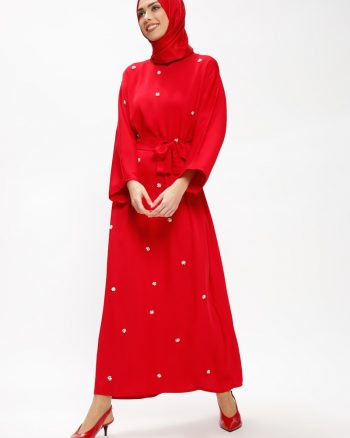 مهره دوزی شده  پیراهن قرمز مهره دوزی شده  - پیراهن - قرمز مهره دار Tuncay
