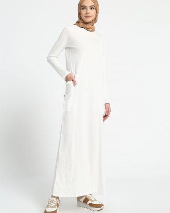 ابریشمی طرح دار پیراهن سفید ساده ابریشمی - طرح دار - پیراهن - سفید - ساده  Everyday Basic
