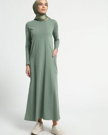ابریشمی طرح دار پیراهن سبز ساده ابریشمی - طرح دار - پیراهن - سبز - ساده  Everyday Basic