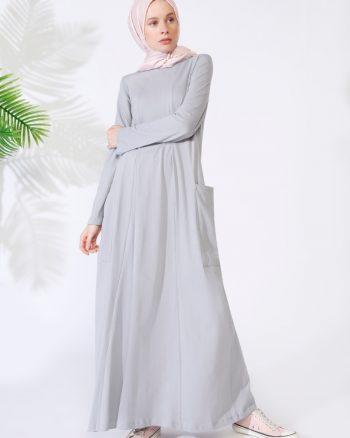 ابریشمی جیب دار پیراهن روشن طوسی ساده ابریشمی - جیب دار - پیراهن - روشن روشن - طوسی - ساده  Everyday Basic