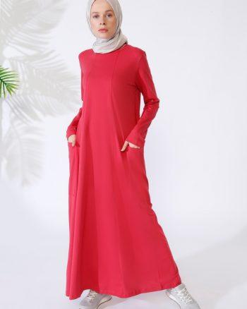 ابریشمی جیب دار پیراهن قرمز ساده ابریشمی - جیب دار - پیراهن - قرمز - ساده  Everyday Basic