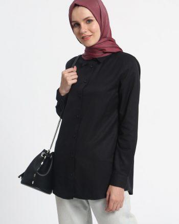 ابریشمی پیراهن مشکی ساده ابریشمی - پیراهن - مشکی - ساده  Everyday Basic