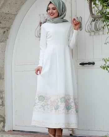لباس شب  نعنایی رنگ سفید لباس شب  - نعنایی رنگ - سفید  Gamze Ozkul