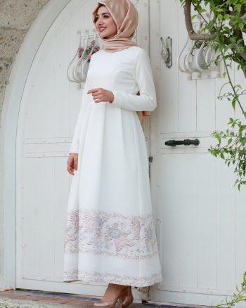 لباس شب  صورتی روشن سفید لباس شب  - صورتی روشن - سفید  Gamze Ozkul