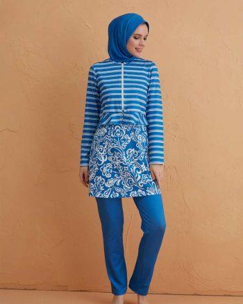 زیپدار کامل پوشیده مایو آبی سفید زیپدار - کامل - پوشیده - مایو - آبی - سفید  Mayovera