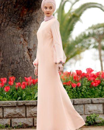 بازو طرح دار لباس شب  نارنجی کرم سالمون بازو - طرح دار - لباس شب  - نارنجی کرم سالمون  Minel Ask