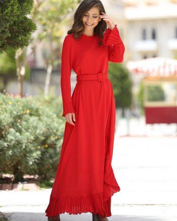 پلیسه دار لباس شب  قرمز پلیسه دار - لباس شب  - قرمز  Minel Ask