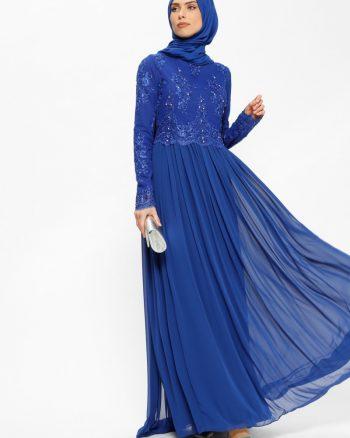 ابریشم شیفونی تیکه دار توری لباس شب  آبی ابریشم شیفونی - تیکه دار - توری - لباس شب  - آبی  Puane