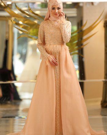 اکریلیکی لباس شب  نارنجی کرم سالمون اکریلیکی - لباس شب  - نارنجی کرم سالمون  Minel Ask