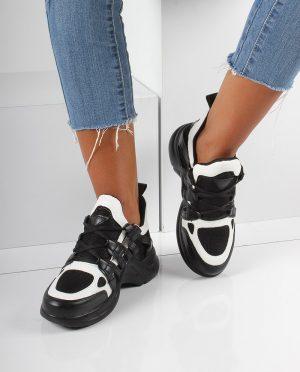 کفش اسپرت  مشکی سفید کفش کفش اسپرت  - مشکی - سفید - کفش  Inan Ayakkabi