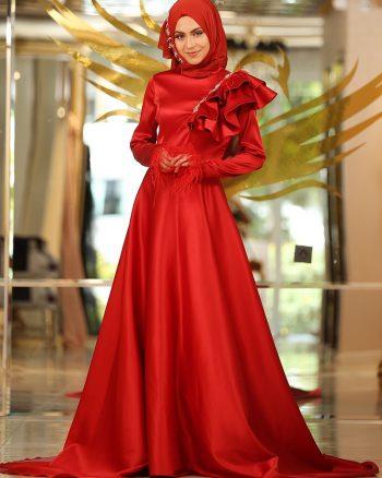 نگین دار لباس شب  قرمز نگین دار - لباس شب  - قرمز  Minel Ask