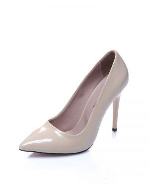 کفش پاشنه بلند  بژ ورنی کفش پاشنه بلند  - بژ - ورنی  Shoestime
