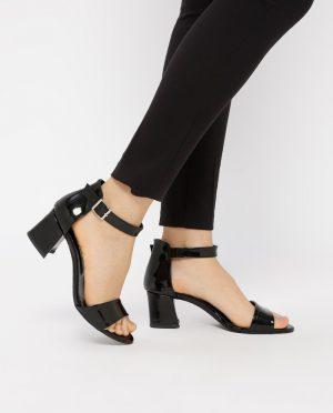 کفش پاشنه بلند  مشکی جیر صورتی کفش پاشنه بلند  - مشکی - جیر - صورتی  Pembe Potin