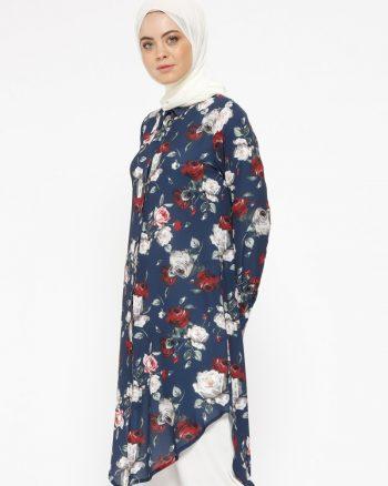 tunik زنانه طرح گلدار  - تونیک - سورمه ای     Cml Collection 414175