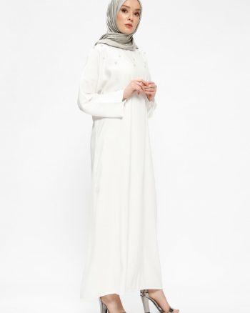 tesettur elbise زنانه مروارید دوزی شده  - پیراهن - شیری     Tuncay 437803