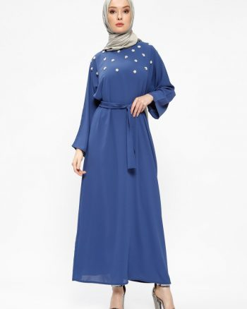 tesettur elbise زنانه مروارید دوزی شده  - پیراهن - سورمه ای     Tuncay 437804