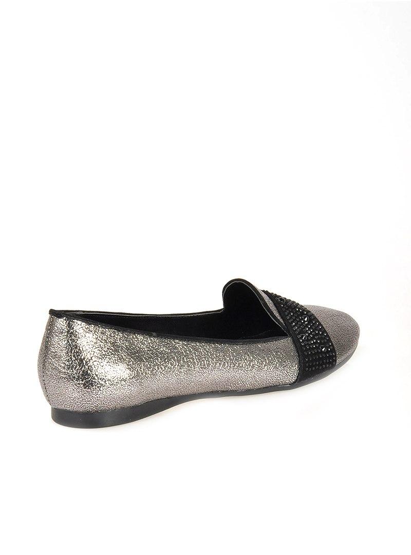 کفش تخت عروسکی زنانه کفش عروسکی – پلاتینی – قهوه ای سموری   راحتی Vizon 608864
