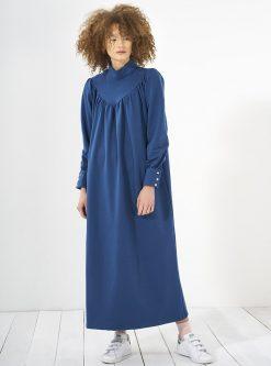 tesettur elbise زنانه چیندار - پیراهن - نیلی     Mevra 438752