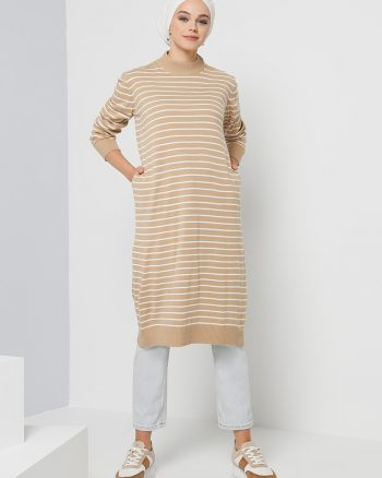 tunik زنانه طرح دار - خط دار - تریکو - تونیک - قهوه ای     Benin 471760