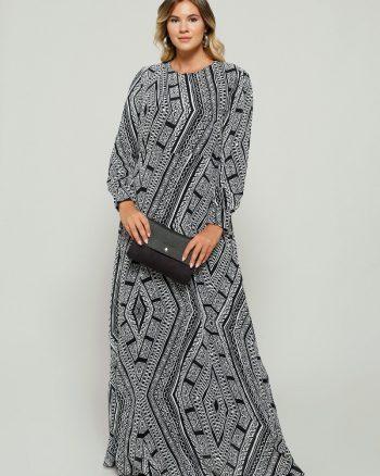 buyuk beden elbise زنانه طرحدار - پیراهن - مشکی - سفید - آلیا     Alia 482494