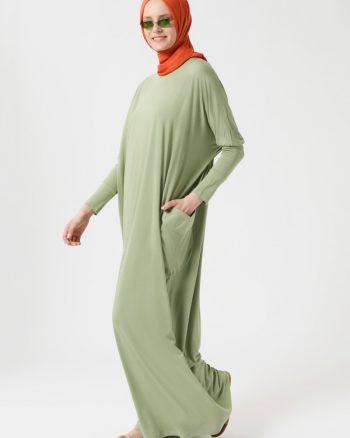 tesettur elbise زنانه ابریشمی - لخت - پیراهن - روشن روشن - یشمی     Benin 439255