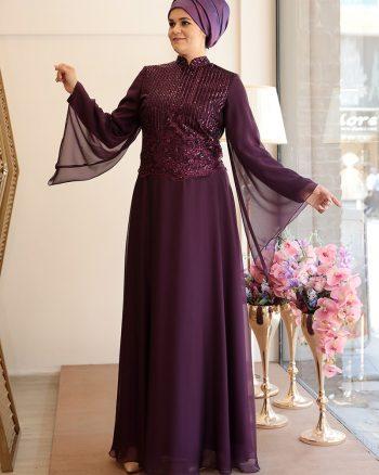buyuk beden abiye elbise زنانه لباس شب  - بنفش     Saliha 436211