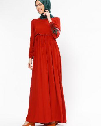 tesettur elbise زنانه طرح گیپور  - پیراهن - آجری     Tuncay 437839