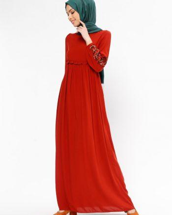 tesettur elbise زنانه طرح گیپور  - پیراهن - آجری     Tuncay 437853