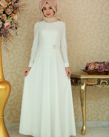 tesettur elbise زنانه پیراهن - شیری     Gamze Ozkul 430637