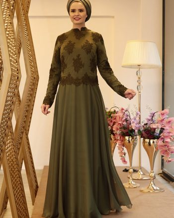 buyuk beden abiye elbise زنانه ملیس - لباس شب  - یشمی     Saliha 436208