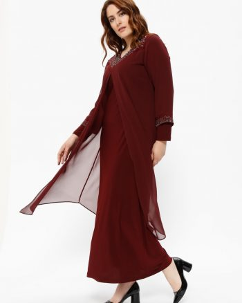 buyuk beden abiye elbise زنانه ابریشم شیفونی - طرح دار - لباس شب  - زرشکی     Metex 441121