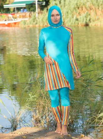 spor deniz/tam kapalı mayo زنانه کامل – مایو – فیروزه ای     Marina Mayo 444677
