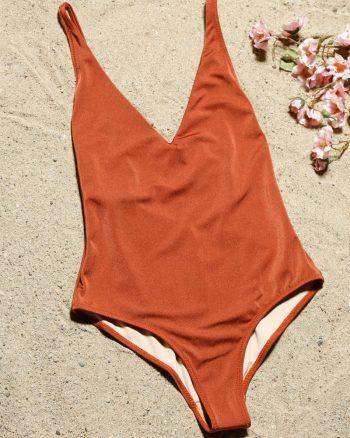 bikini زنانه یقه هفت  - مایو - قهوه ای     Aquella 422001