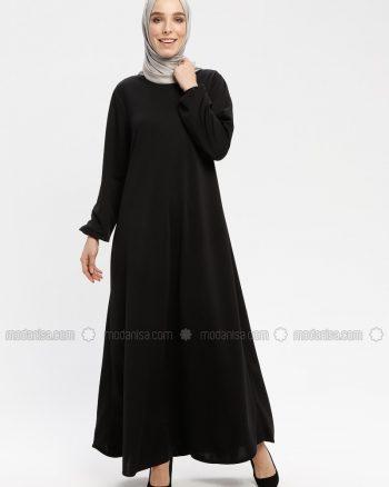 tesettür giyim/elbiseler/tesettür elbise زنانه بازو - کشی - پیراهن - مشکی     Ecesun 633241